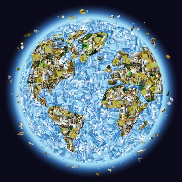 Terre avec déchets