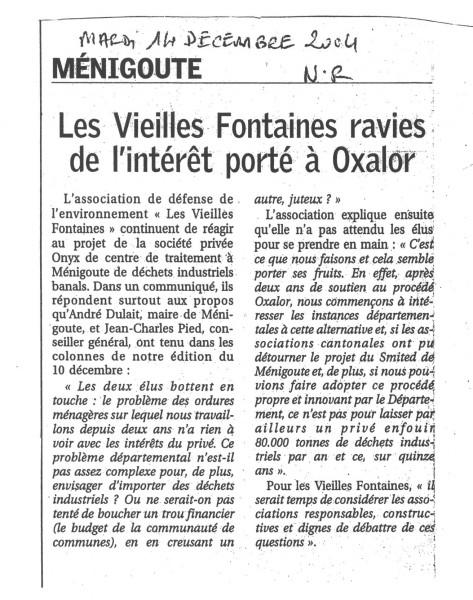 Les Vieilles Fontaines ravies de l'intérêt porté à Oxalor