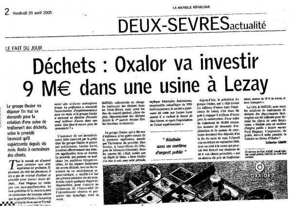 Déchets : OXALOR va investir 9 M€ dans une usine à Lezay.
