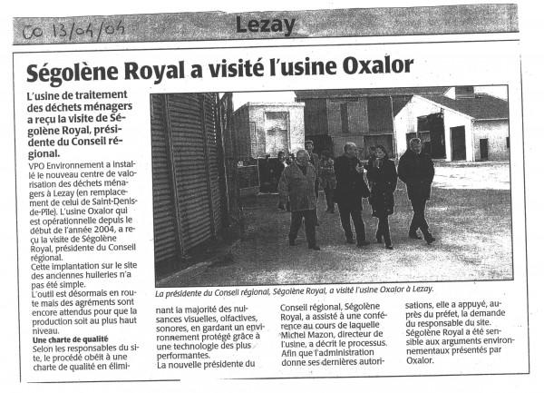 Ségolène Royal a visité l'usine Oxalor