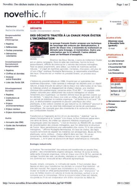 Des déchets traités à la chaux pour éviter l'incinération (page 1)