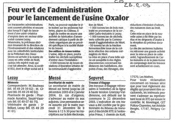 Feu vert de l'administration pour le lancement de l'usine OXALOR